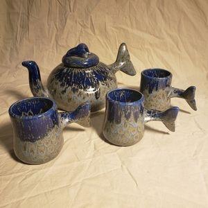 Vintage Studio Pottery Whale Tea Set